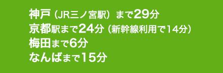 神戸(JR三ノ宮駅)まで29分、京都駅まで24分(新幹線利用で14分)、梅田まで6分、なんばまで15分